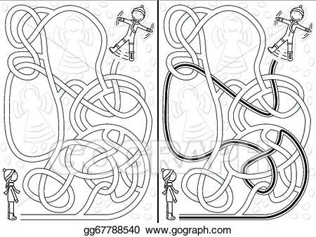 Vector illustration gg . Maze clipart snow white