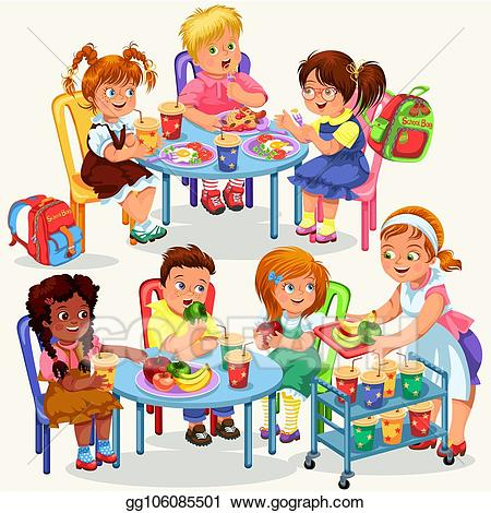 Vector stock schoolchildren having. Meal clipart dining