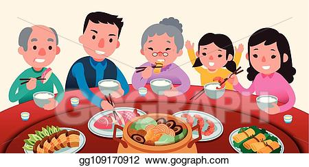 Meal clipart family style dining. Eps illustration traditional reunion