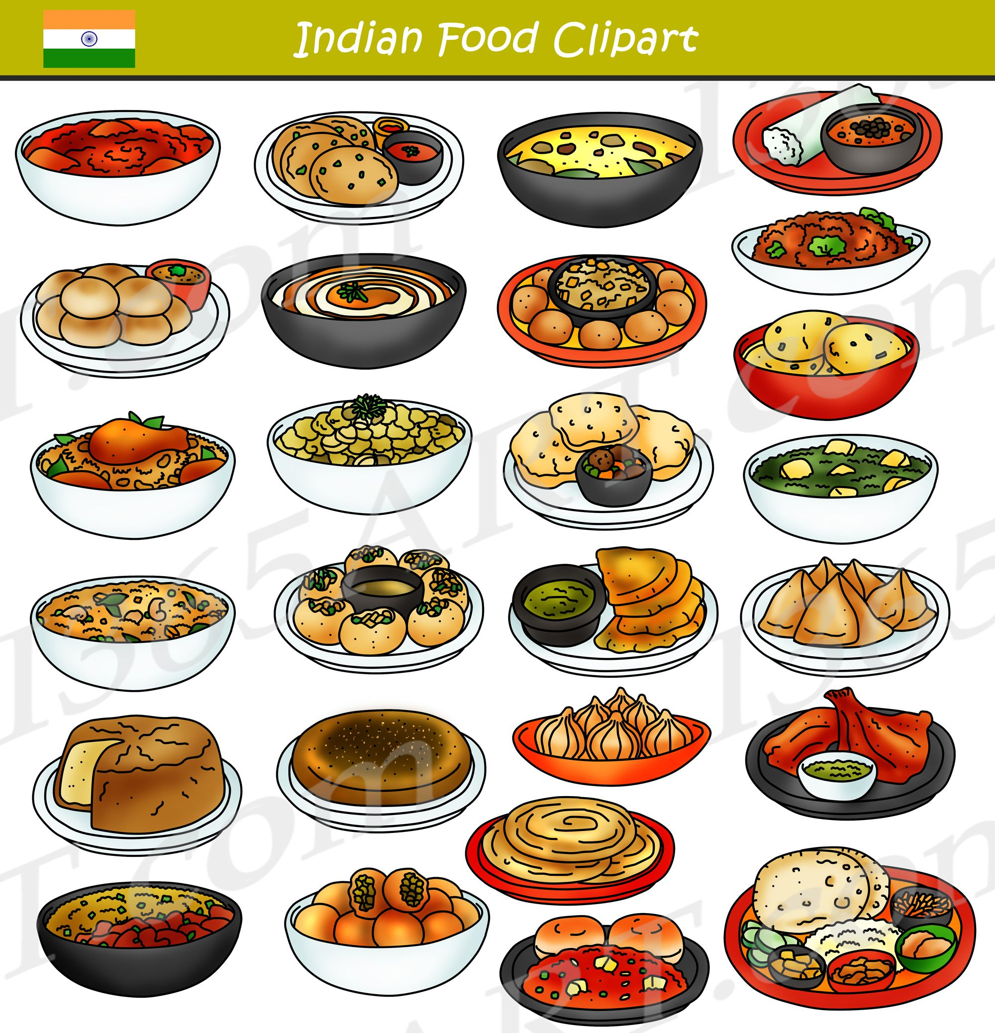 Indian bundle graphics school. Meal clipart food india