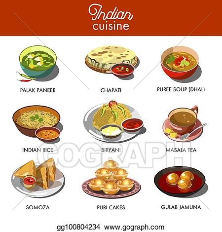 Vector stock indian cuisine. Meal clipart food india