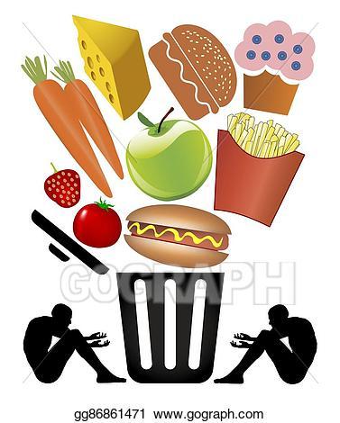 Meal clipart starvation. Stock illustration food waste