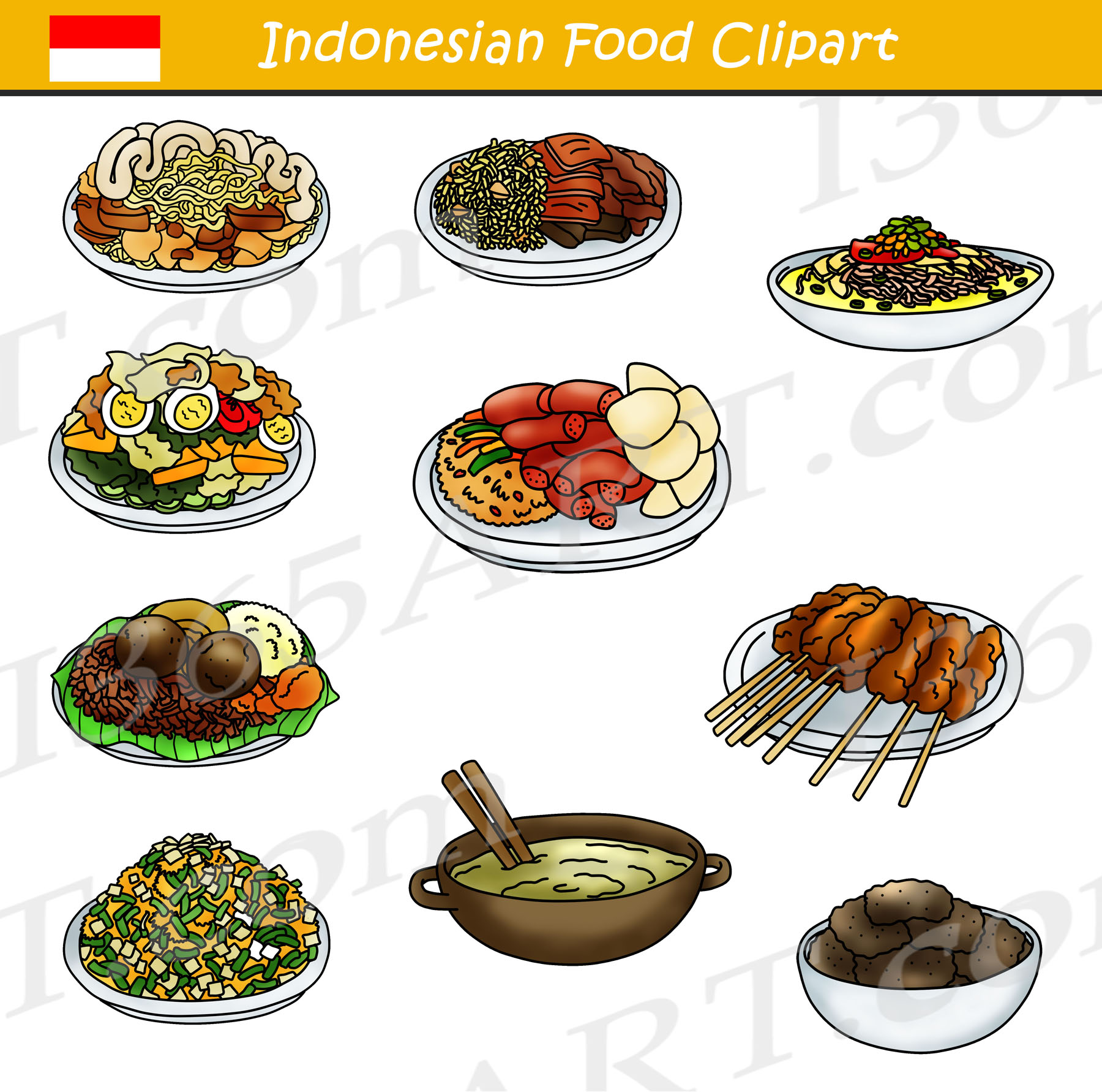 Meal clipart vegetarian meal. Indonesian food bundle