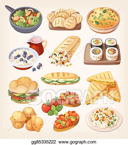 Eps vector set of. Meal clipart vegetarian meal
