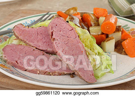 Meat clipart corned beef. Stock illustration and cabbage