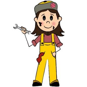 Female . Mechanic clipart