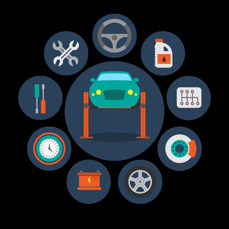 Automobile repair shop transport. Mechanic clipart car workshop