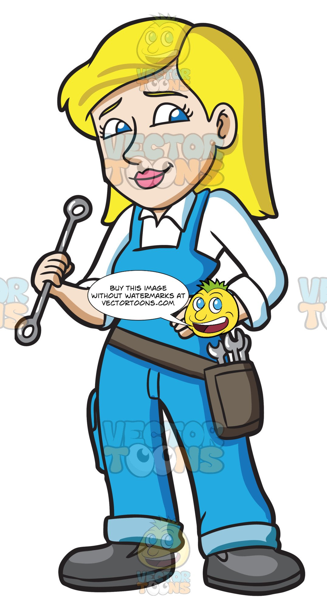 A carrying tools for. Mechanic clipart female job