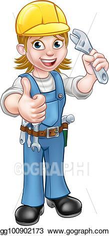 Vector art or plumber. Mechanic clipart female job