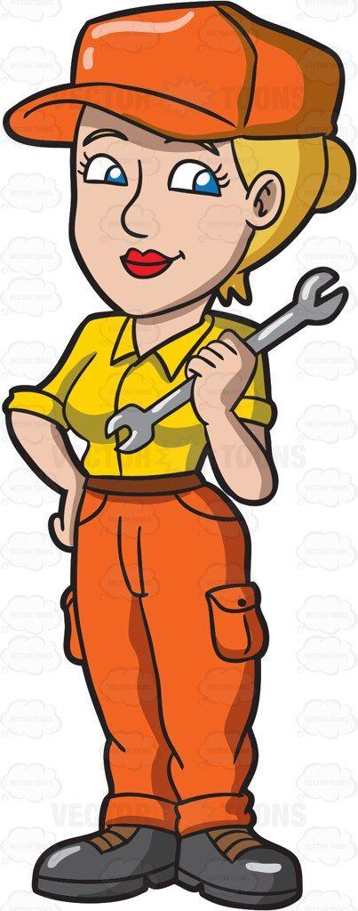 Mechanic clipart female job. A automobile cartoon vector
