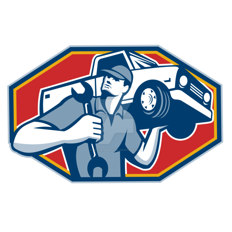 Automotive car repair retro. Mechanic clipart female mechanic