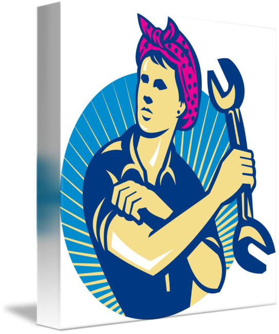 Worker with spanner retro. Mechanic clipart female mechanic