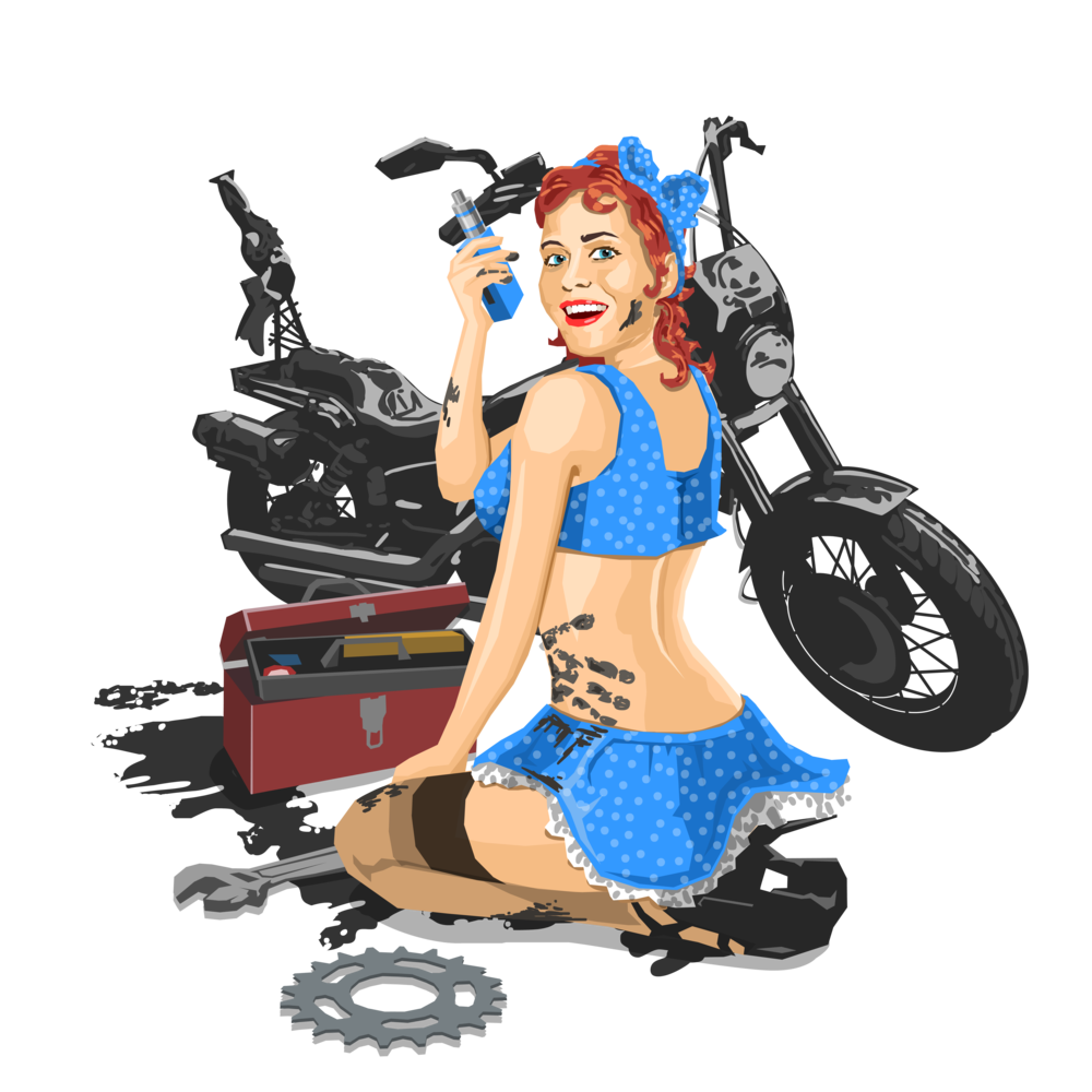 Mechanic clipart female mechanic. Vaping biker merch pinup