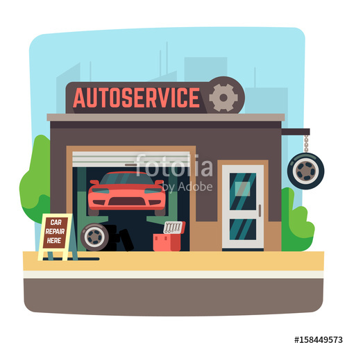 Car service station or. Mechanic clipart happy customer