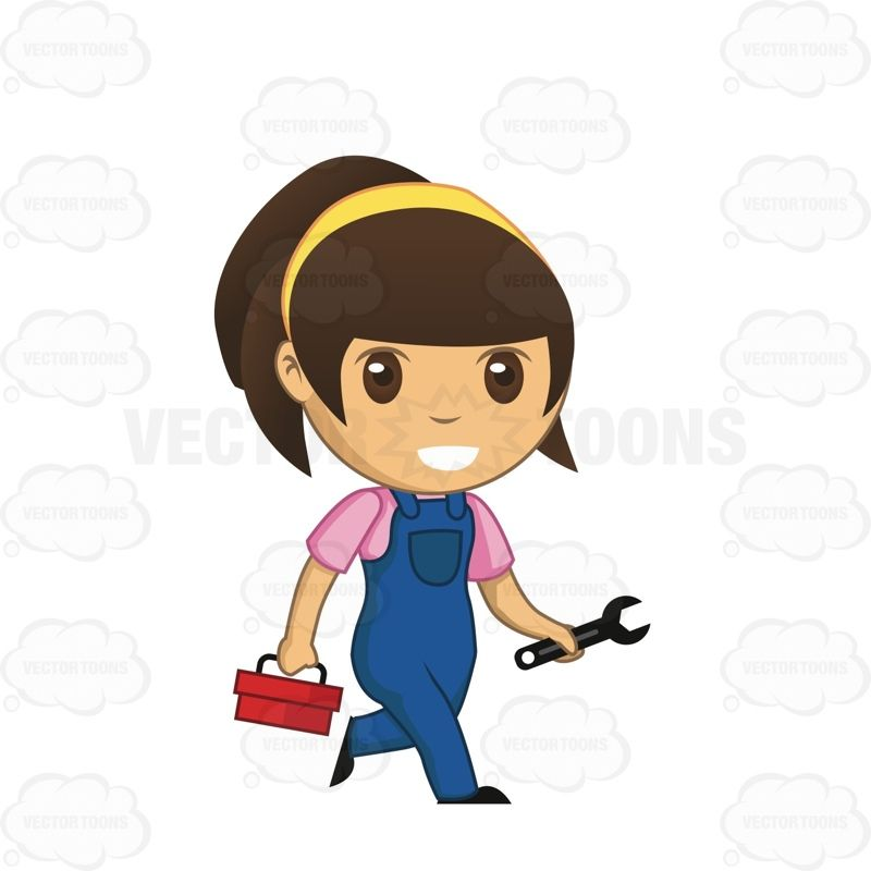Mechanic clipart lady. Female holding a wrench