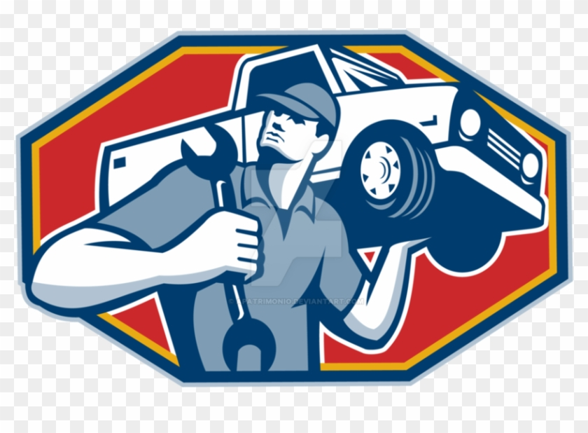 Mechanic clipart mecanic. Automotive car repair retro