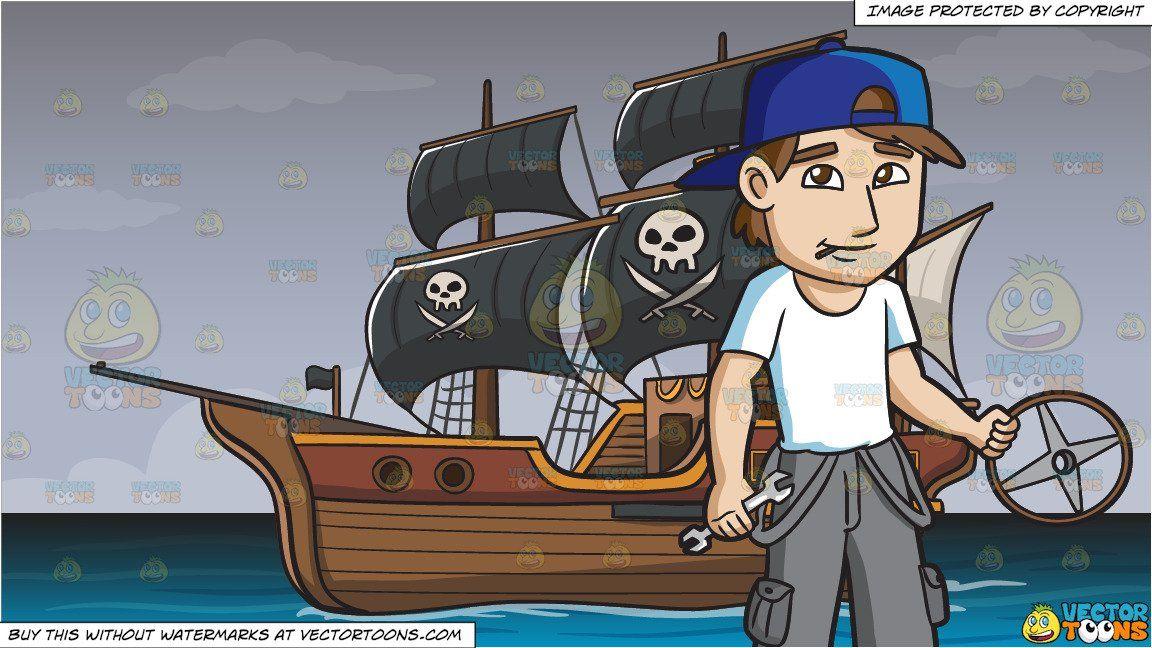 Cartoon a male car. Mechanic clipart ship