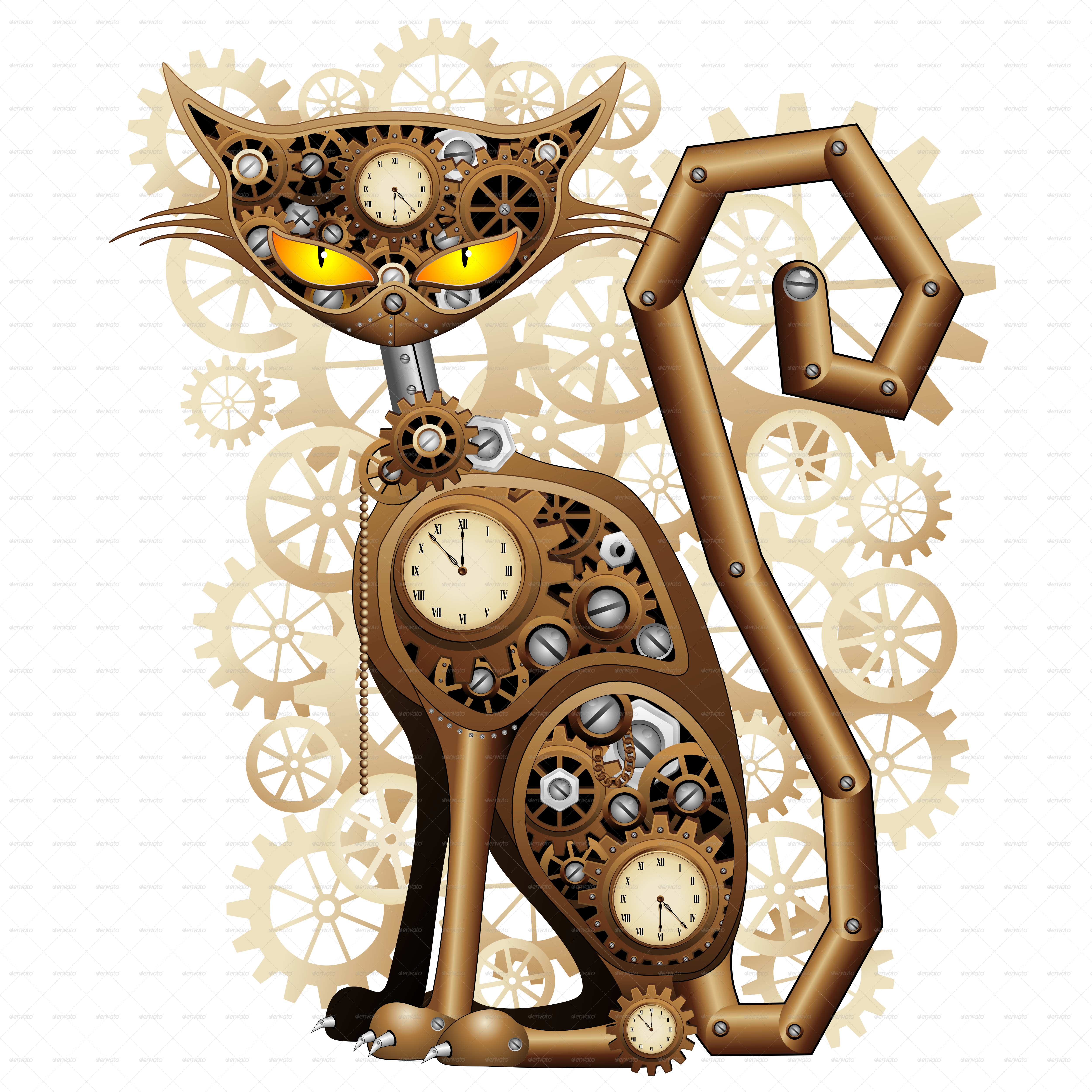 Steampunk clipart many gear. Cat vintage style by