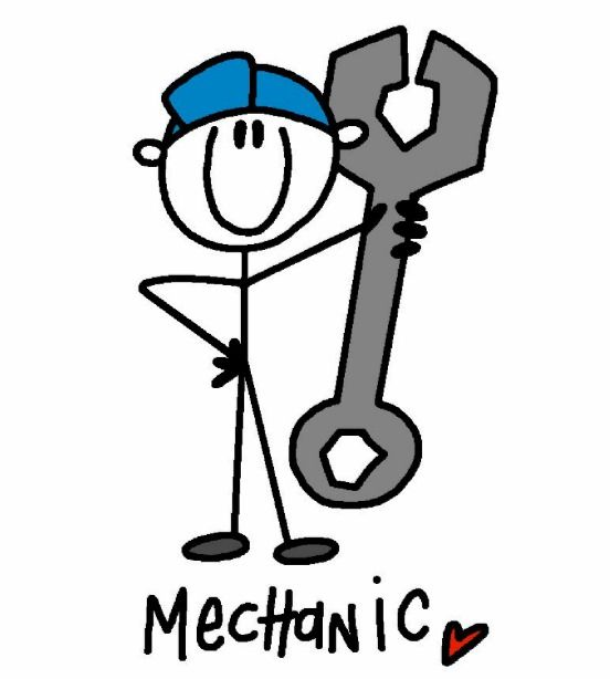 With wrench card g. Mechanic clipart stick figure