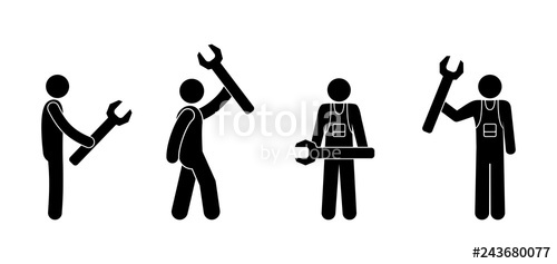Man icon wrench pictogram. Mechanic clipart stick figure