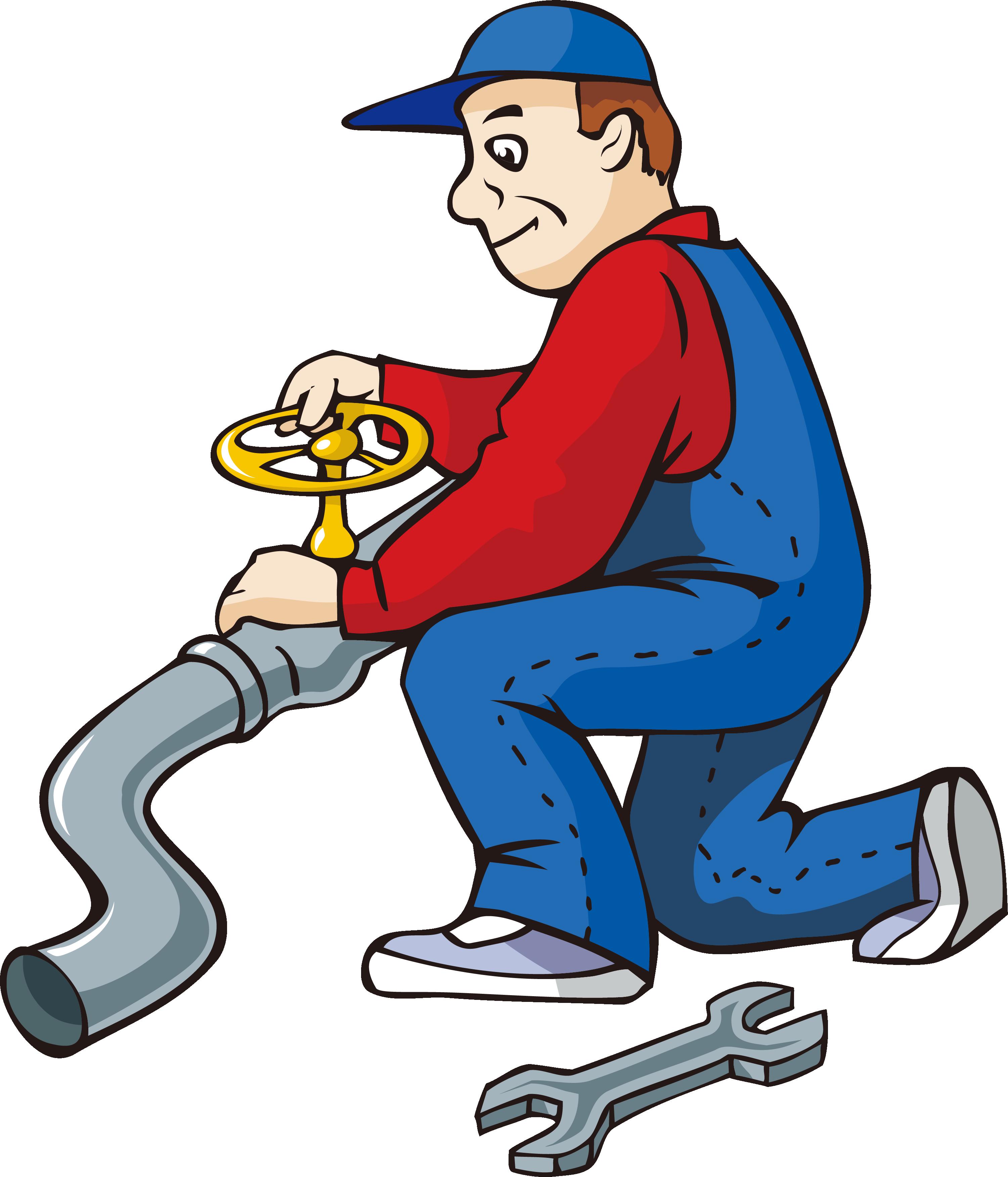 Cartoon water pipe repairman. Mechanic clipart working