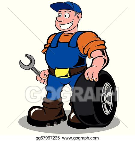 Mechanic clipart working. Vector stock auto illustration