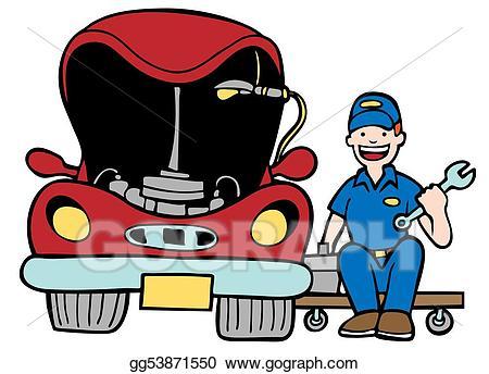 Mechanic clipart working. Stock illustration auto car