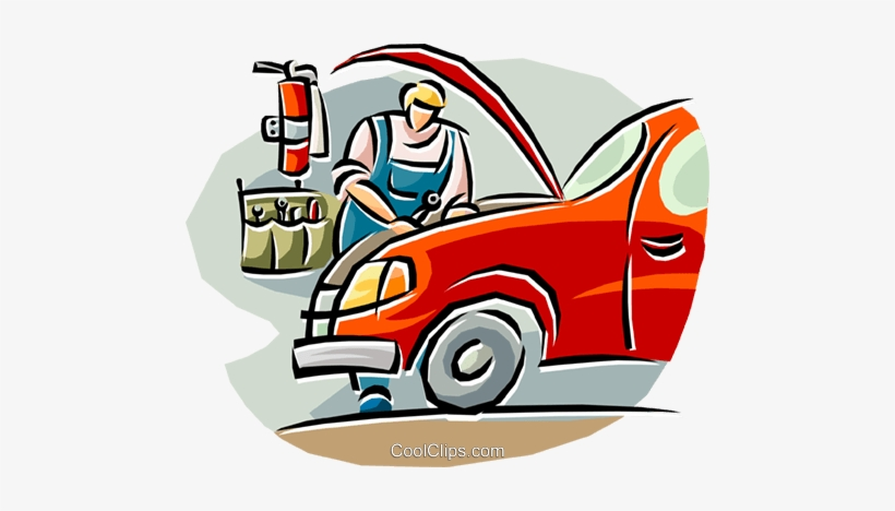 Auto on a car. Mechanic clipart working