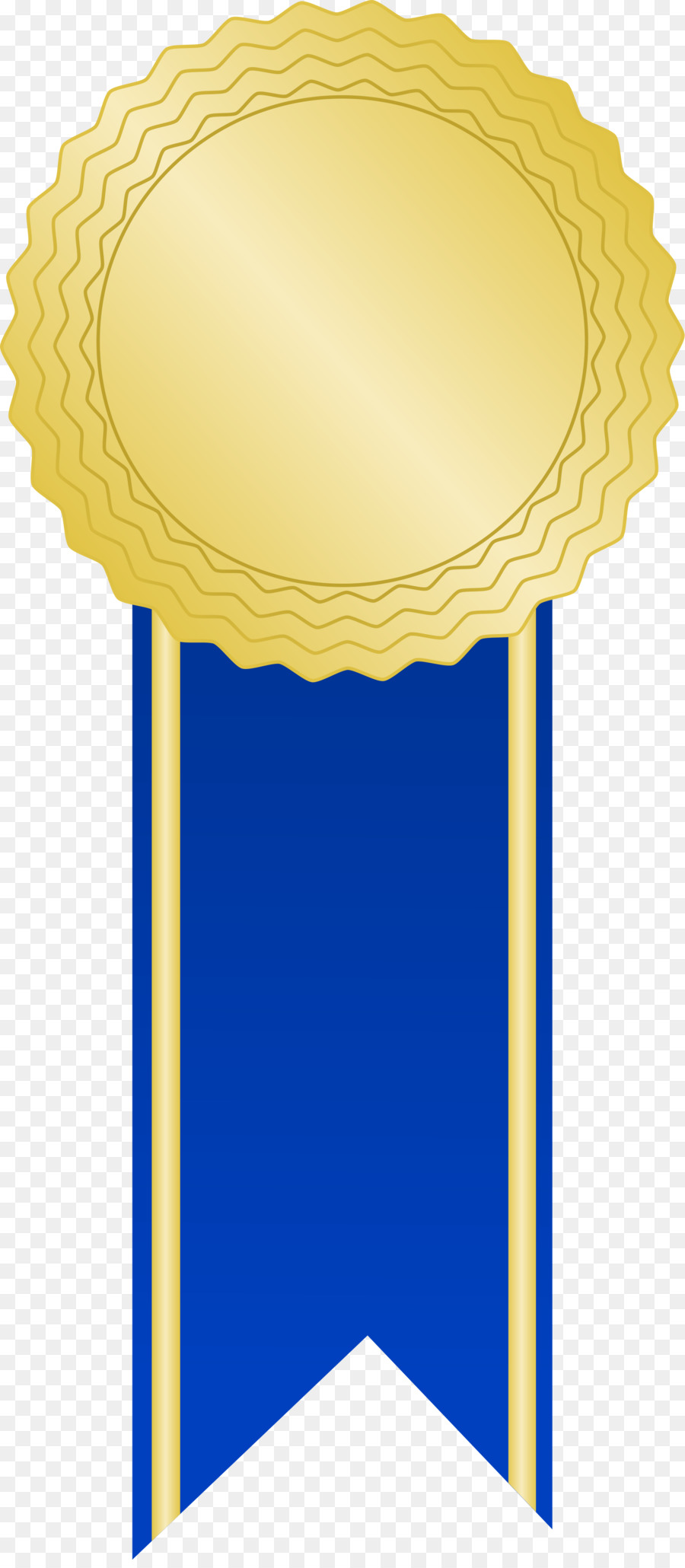 Gold ribbon background award. Medal clipart blue