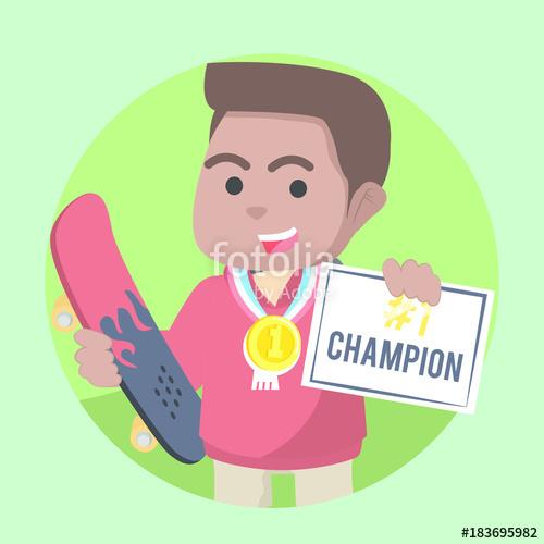 African skater get certificate. Medal clipart champion boy