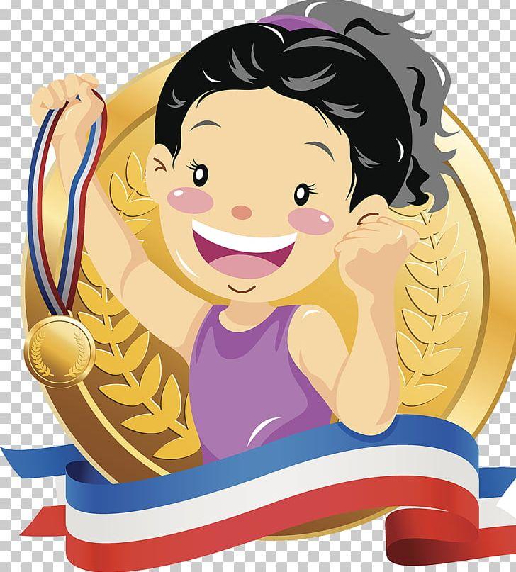 Gold championship illustration png. Medal clipart champion boy