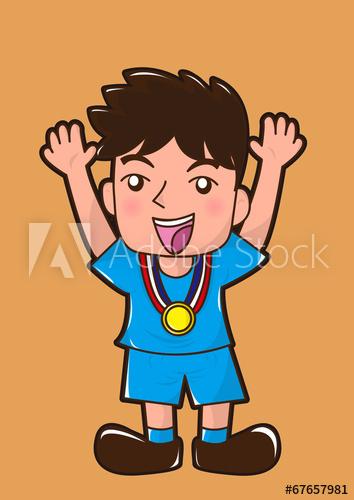 Medal clipart champion boy. Cartoon win the celebrate