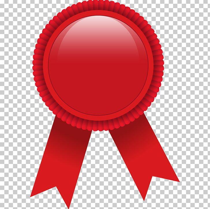 Ribbon award png badge. Medal clipart red