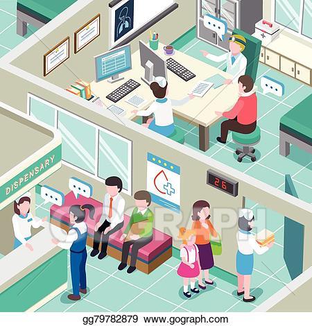 Eps illustration interior vector. Medical clipart medical clinic