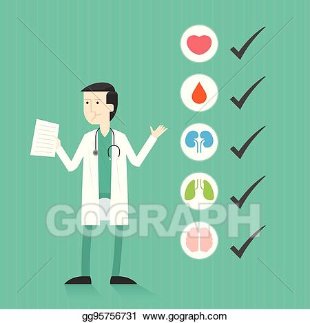 Medical clipart medical exam. Vector doctor with list