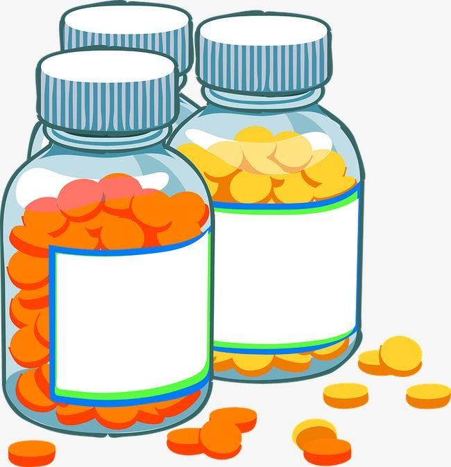 Yellow pills bottle cartoon. Medical clipart pill