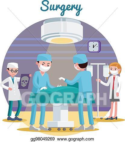 Vector art flat composition. Medical clipart surgery