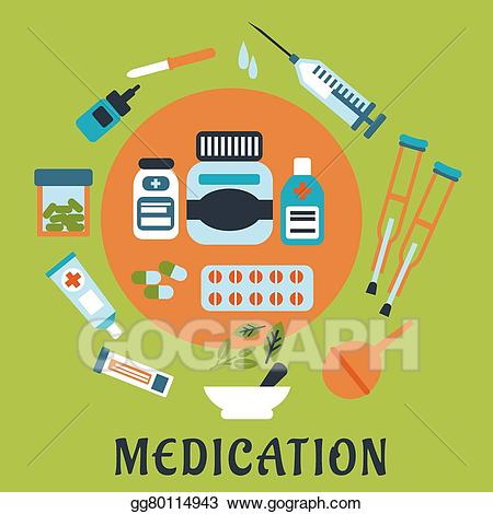 Vector art icons with. Medication clipart