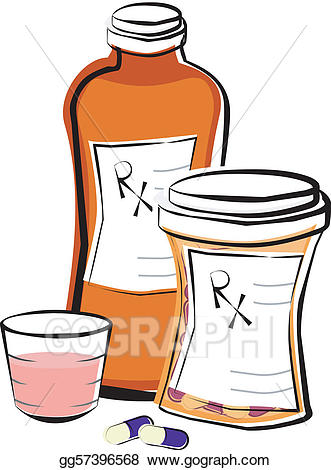 Medication clipart. Vector illustration prescription bottles