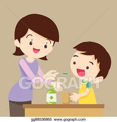 Vector illustration children eat. Medication clipart baby medicine