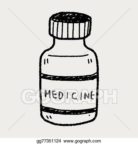 Medication clipart drawing. Vector art medicine bottle