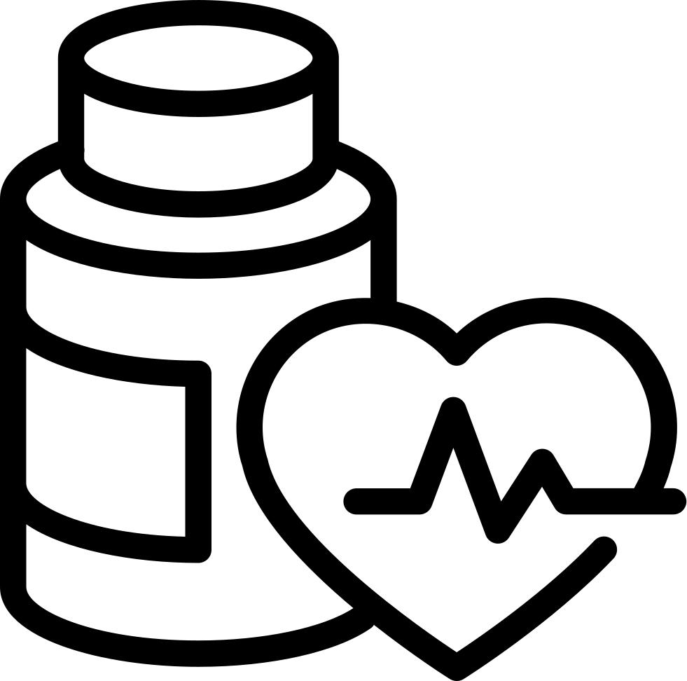 Bottle outline and heart. Medication clipart utensil