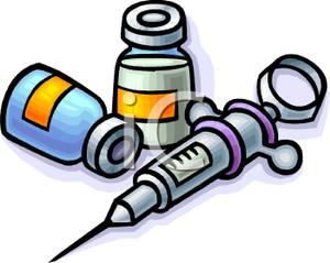 Two bottles of vaccine. Syringe clipart liquid medicine