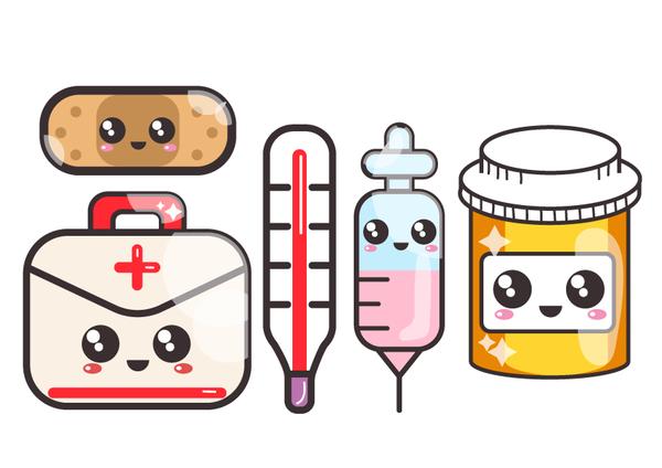 Set kawaii by barovlud. Medicine clipart