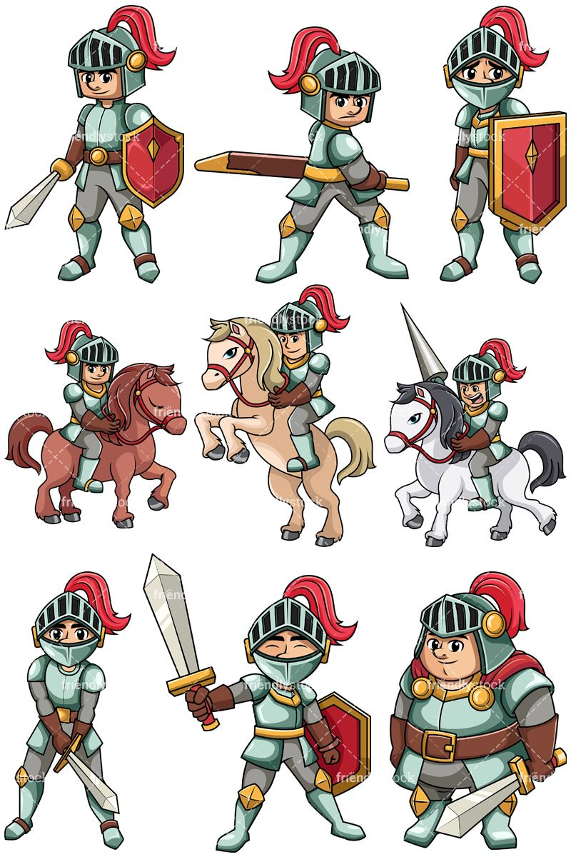 Medieval collection clip arts. Knights clipart animated