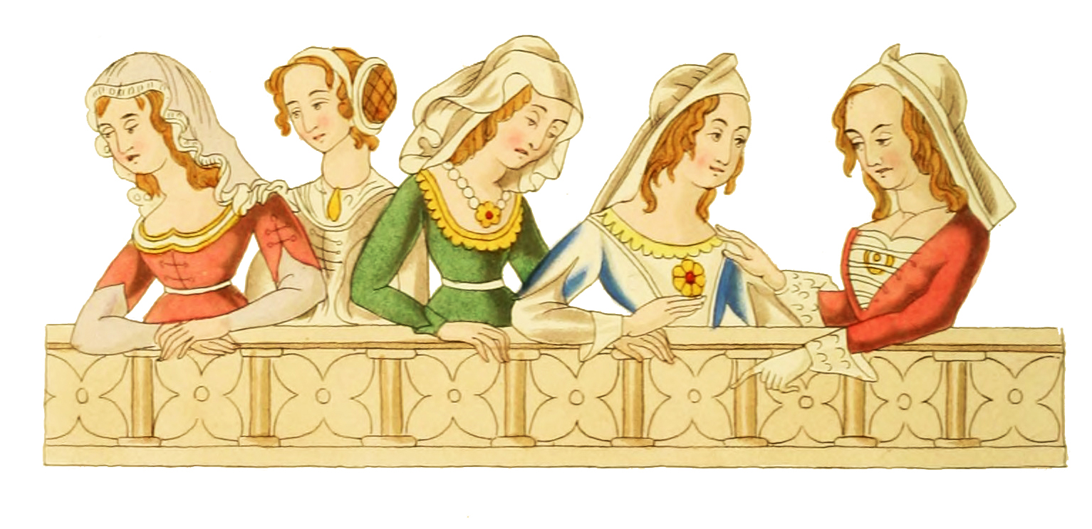 Medieval clipart. Head dresses th century