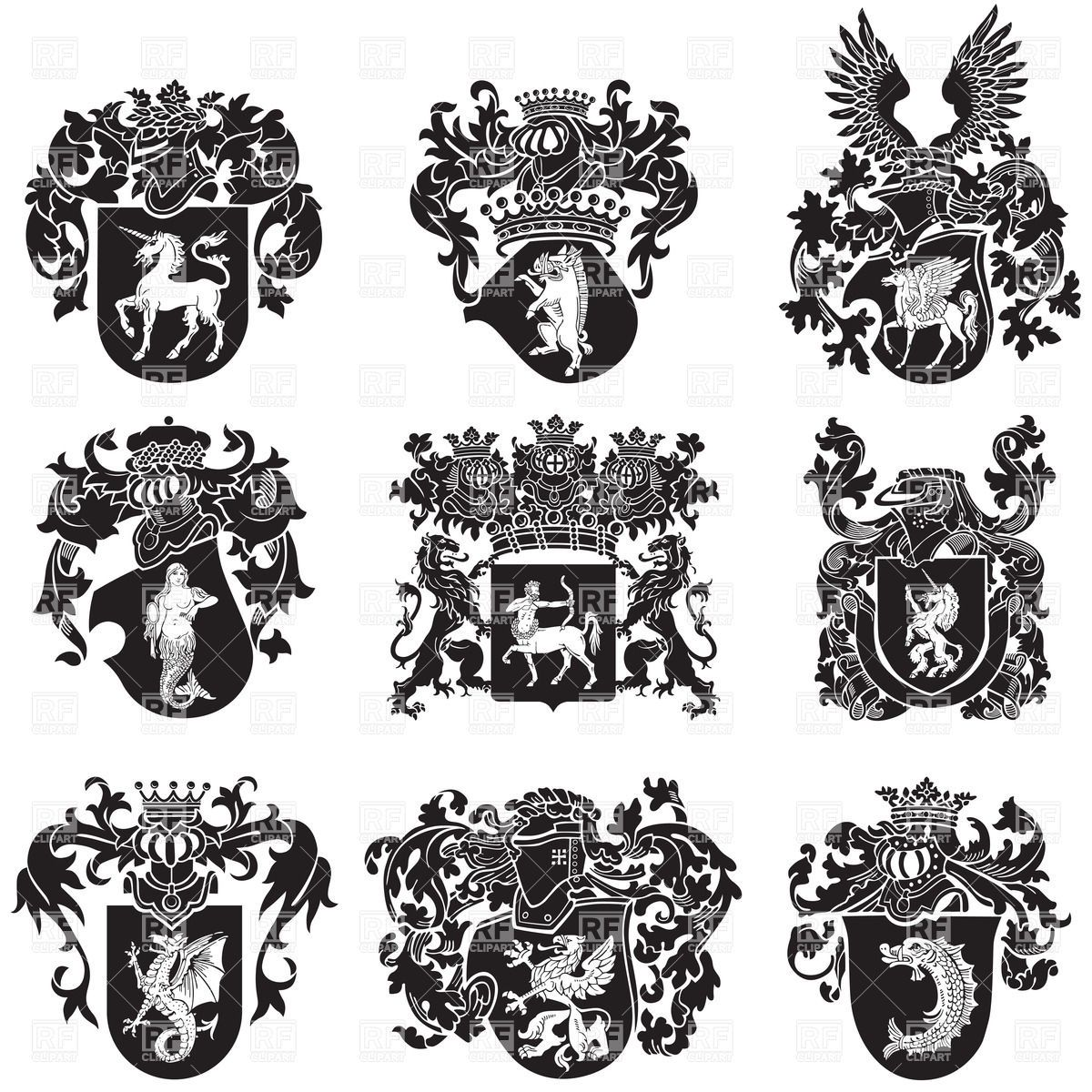 Black heraldic emblems vector. Medieval clipart medieval symbol