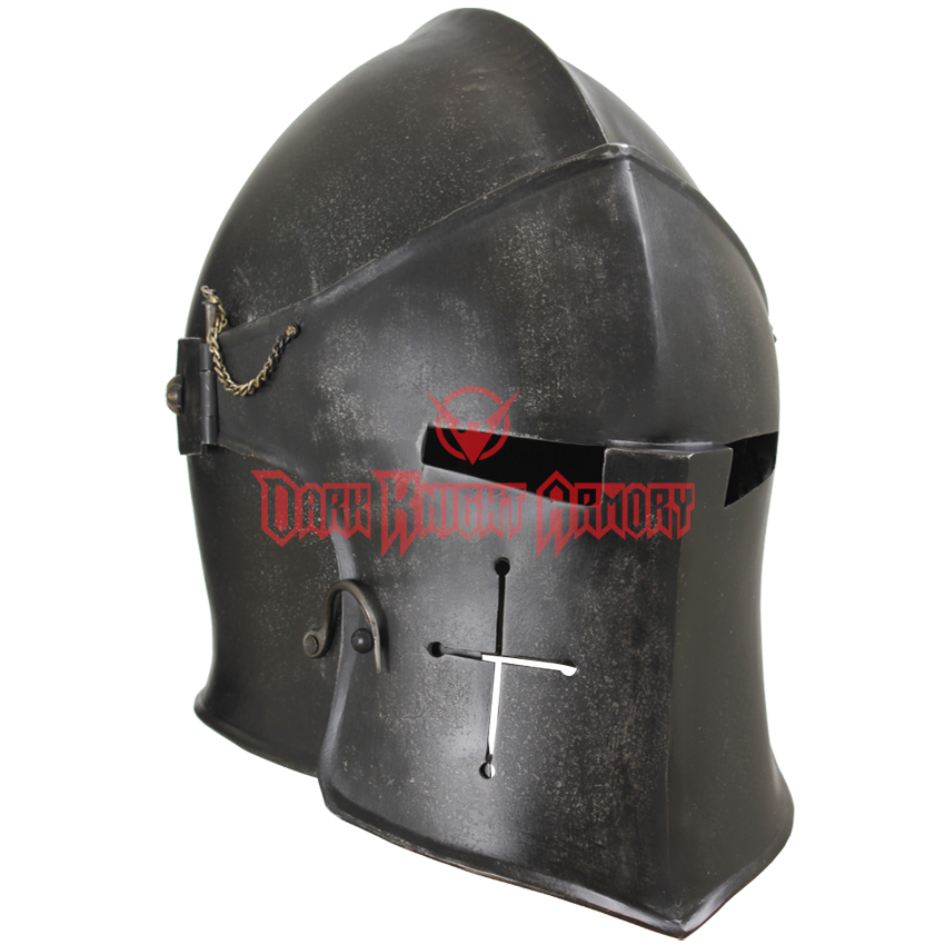 Medieval helmet png. Epic dark visored barbuta