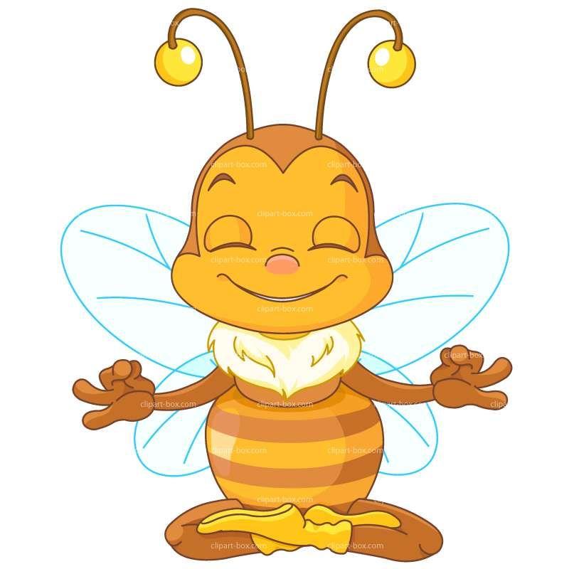 Bee royalty free vector. Meditation clipart