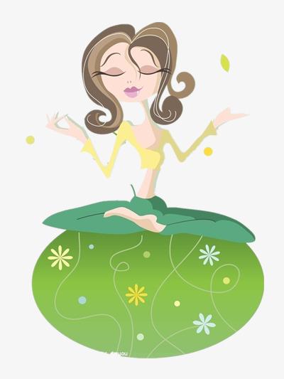 Woman green yoga slimming. Meditation clipart
